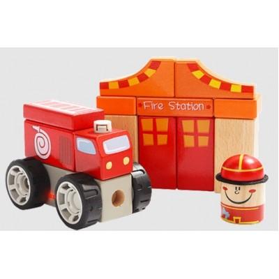 Конструктор деревянный Пожарная станция, 150134, для детей от 1 года