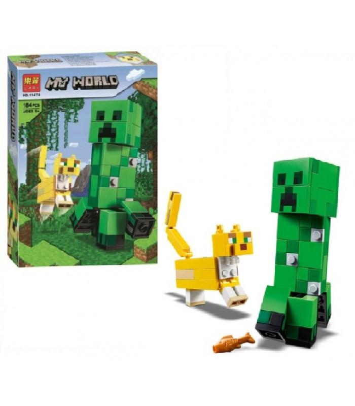 Детский конструктор аналог  Minecraft Крипер и Оцелот, 184 детали, 11474, пакунок малюка, для детей от 6 лет