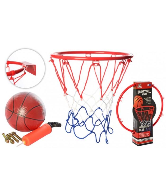 Баскетбольное кольцо 32 см металлическое, сетка, мяч, насос, MR0167, для детей от 3 лет